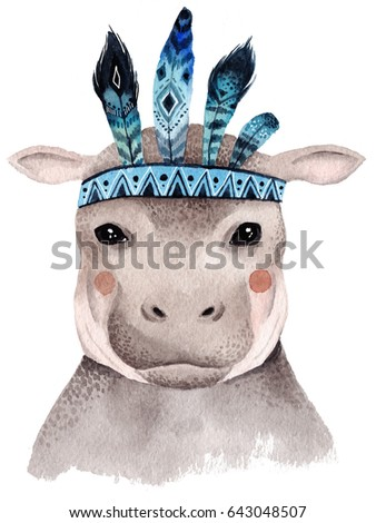 Watercolor hippo portrait, cute boho design with feathers. Nursery prints with animals , posters and postcards.
