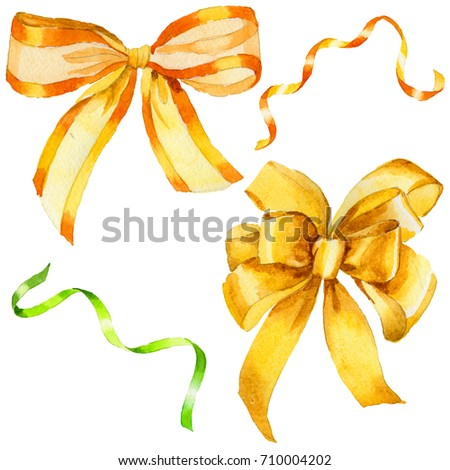 Watercolor holiday yellow ribbon bow greeting illustration. Festive decoration bunting clip art. Birthday party design elements set. Isolated on white background.