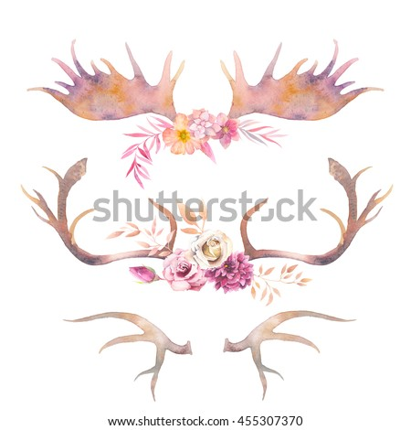 watercolor horns with flowers....