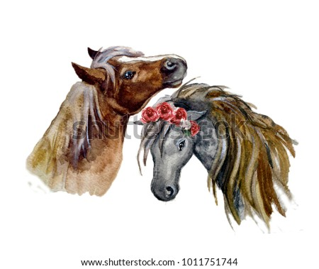 Watercolor horse with flowers on the white background