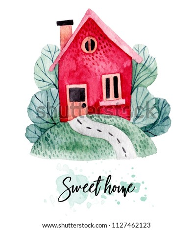 Watercolor house with trees and grass. European style house. Hand drawn watercolor illustration