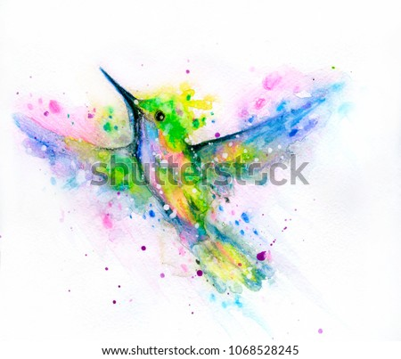 Watercolor hummingbird with splashes and drops. Hand drawn illustration.