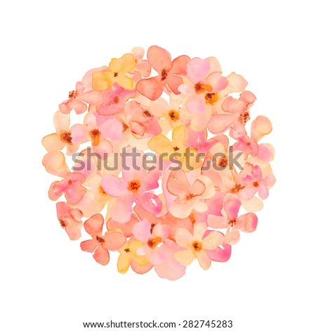 Watercolor Hydrangea Flower Ball. Pink and Orange Watercolour Hydrangea Ball.