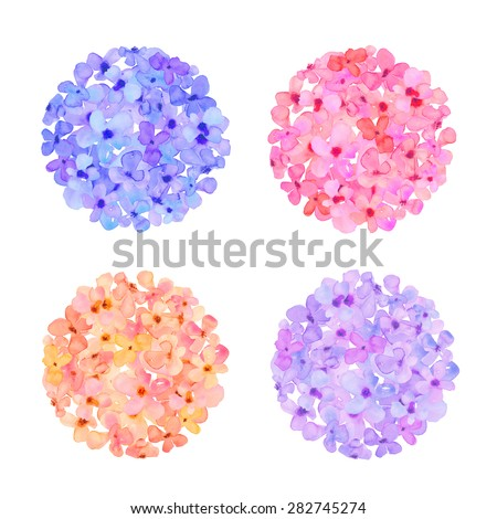Watercolor Hydrangea Flower Ball. Purple Hydrangea Ball. Blue Hydrangea Balls. Watercolor Flower Ball.