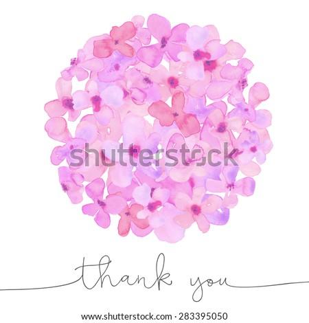 Watercolor Hydrangea Flower Ball With Thank You Card Thank You Cursive Text