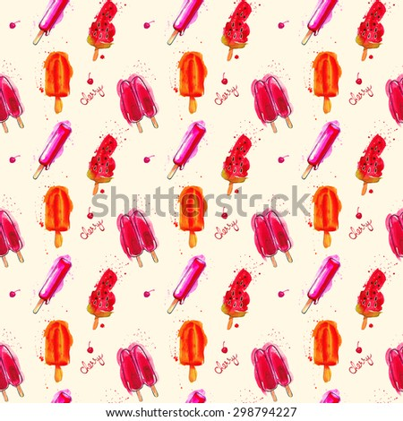 Watercolor ice cream popsicle seamless pattern. Hand drawn seamless texture for invitations, cards, fabric, web sites, wrapping paper, and other designs. - stock photo