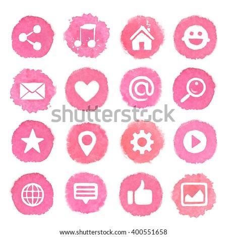 Watercolor icons on pink blots. Social media icons set