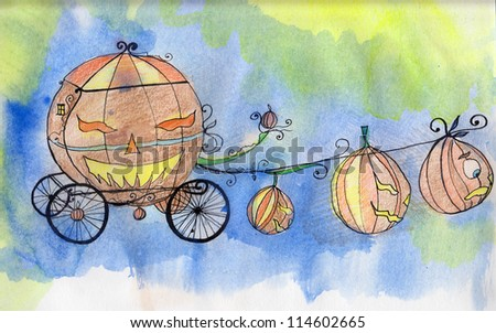 watercolor illustrated spring-carriage for Halloween