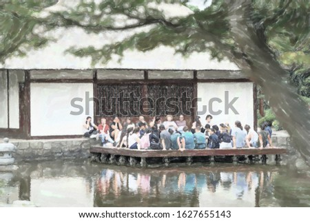 watercolor illustration: A group of young travellers sitting on the terrace of the Japanese teahouse in the park planned un bloomen and listened to a lecture