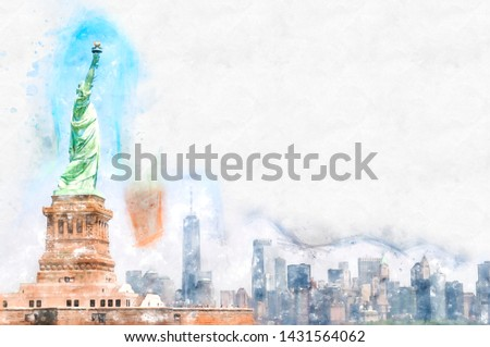 Watercolor illustration about Staue of liberty and Manhattan's skyline. NYC - USA
