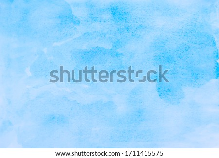 Watercolor illustration art abstract blue color texture background, clouds and sky pattern. Watercolor stain with hand paint, cloudy pattern on watercolor paper for wallpaper banner and any design