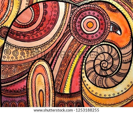 Watercolor illustration art decorative ornamental elephant colorful orange red graphic pattern tattoo print Indian animal Thailand tribal ethnic