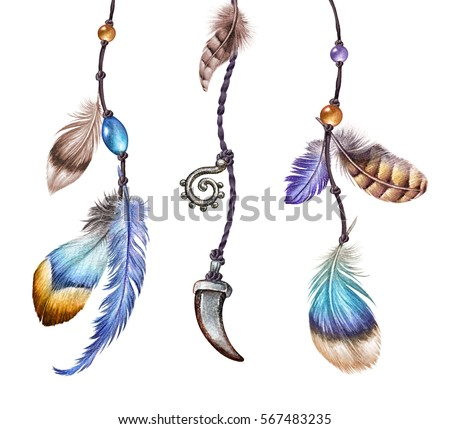 watercolor illustration, boho feather dream catcher strands, easter clip art, tribal assorted design elements, isolated on white background