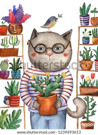 watercolor illustration cat in glasses with potted plants