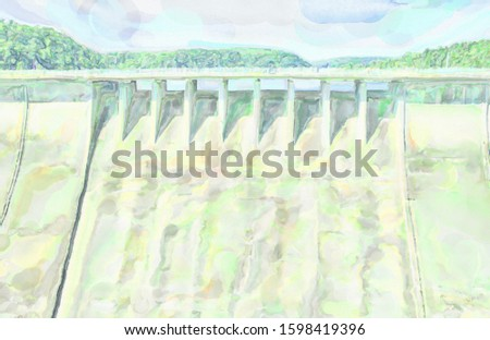 watercolor illustration: Concrete dam wall of an old dam in the Harz Mountains from the land side