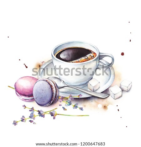Watercolor illustration cup of coffee, sugars, macaron cakes and lavender