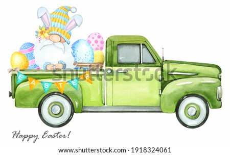 Watercolor illustration. Cute Easter gnome. Easter old truck on a white background. Stock fotó ©