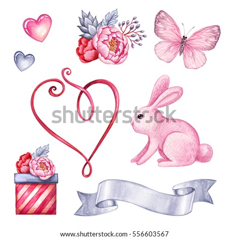 watercolor illustration, cute pink bunny, Easter rabbit clip art set, Valentine's day objects, birthday party clip art, gift, design elements isolated on white background