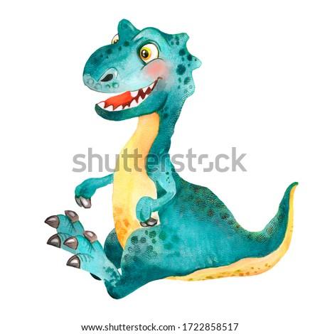 Watercolor  illustration dinosaur for kids, little green-blue sitting dinosaur, funny   big head dinosaur, baby dino, cartoon dino, tyrannosaurus, cute dino, jurassic, good dinosaur, jurassic world