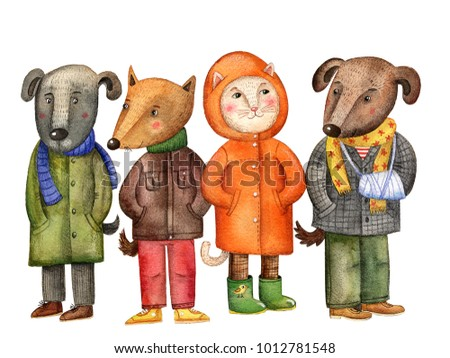 watercolor illustration dogs and cat in clothes