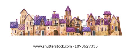 Watercolor illustration - European old town with stone houses, tiled roofs, wooden doors. Hand-drawn illustration of medieval houses isolated on white background.