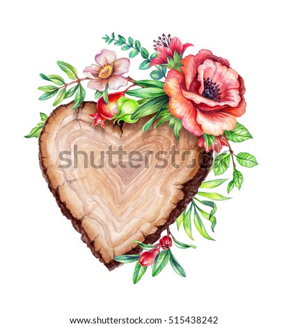 watercolor illustration, flower bouquet, floral background, wooden texture, rustic banner, heart shape wood slice, flowers, leaves, wild garden nature, isolated on white background