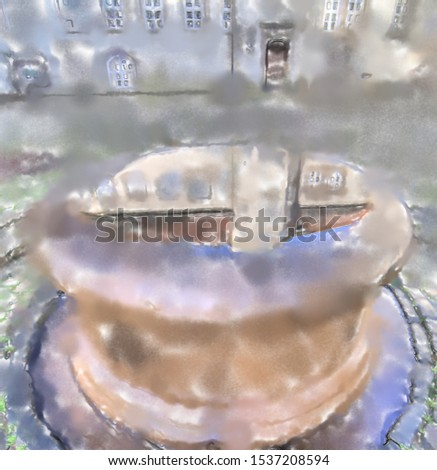 watercolor illustration: Fountain in the courtyard of a castle ,view of the reflection on the water surface in the fountain, Germany