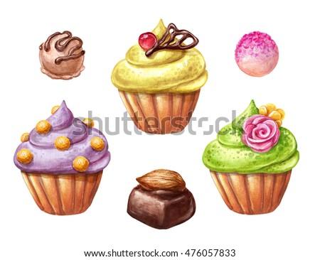 watercolor illustration, fruit cupcake set, isolated on white background