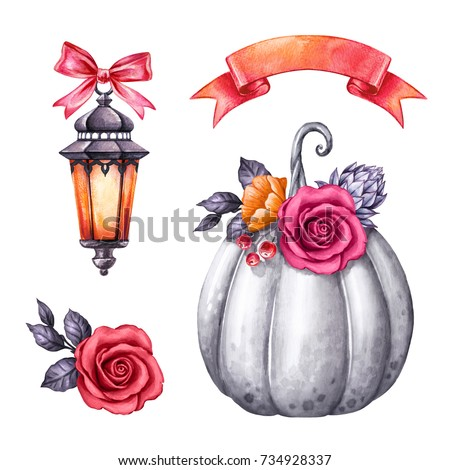 watercolor illustration, Halloween clip art, autumn design elements, lantern, rose flowers, pumpkin, fall, holiday clip art isolated on white background