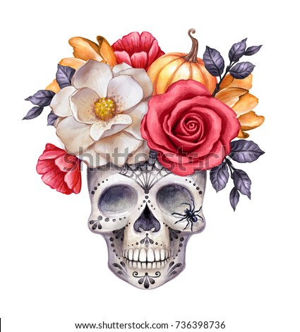 watercolor illustration, Halloween floral skull, fall flowers, autumn pumpkin, dia de los muertos, festive clip art isolated on white background
