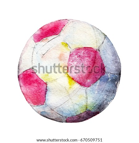 Watercolor illustration, hand drawn football ball isolated object on white background.