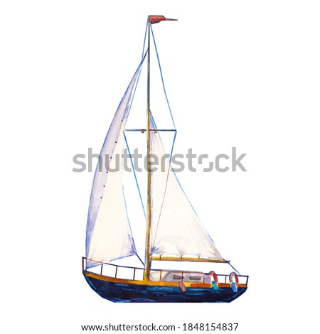 Watercolor illustration, hand drawn sailboat. Art cut out yacht sails, watercolor isolated objet on white background. Photo stock ©