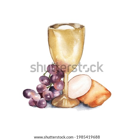 Watercolor illustration. Holy Communion, Last Supper. A bowl of wine, bread, grapes and ears of wheat. Easter service, Catholicism, Protestantism Foto stock ©