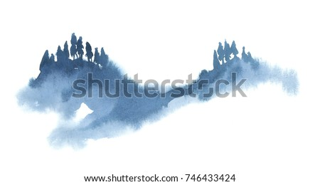 Watercolor illustration isolated on white background. Painting on wet. Blue forest in fog.