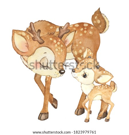 Watercolor illustration mom deer and baby deer, childrens print, forest animals. Deer and his mother, bambi deer, baby shower, children's card for congratulations