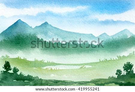 Watercolor illustration. Mountains landscape, trees, sky.