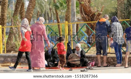 watercolor illustration: Muslim families take a rest at the back of the beach of Aqaba, middle east