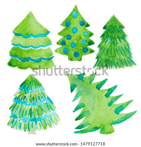 Watercolor illustration of a Christmas tree. Decorative holiday set of clip art elements. Christmas and New year concept