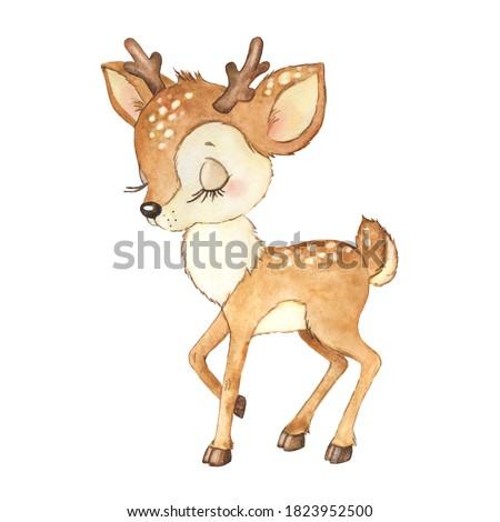 Watercolor illustration of a cute little deer,  bambi deer, baby shower, children's card for congratulations, animal, deer
