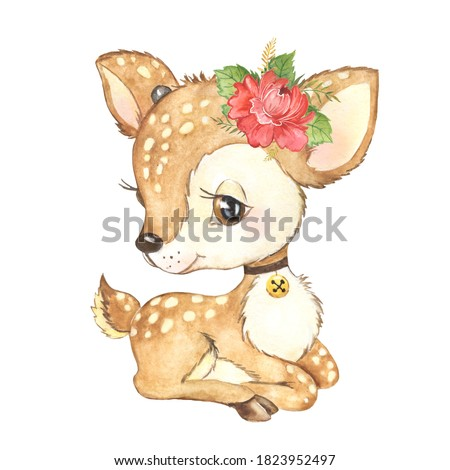 Watercolor illustration of a cute little deer, forest animal, baby animal deer, bambi deer, baby shower, children's card for congratulations
