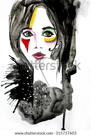 Watercolor illustration of a girl | handmade | self made