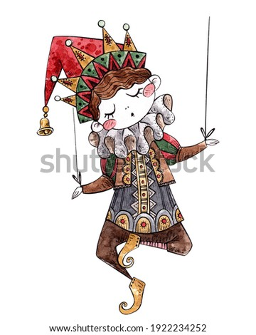 watercolor illustration of a puppet. theatrical doll. world theater day. children's book illustration. hand drawing. Foto stock ©