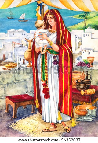 """Watercolor illustration of a series """"Life and everyday objects of ancient Palestine"""". A rich woman with a child"""