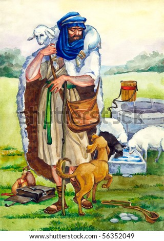 """Watercolor illustration of a series """"Life and everyday objects of ancient Palestine"""". Shepherd"""