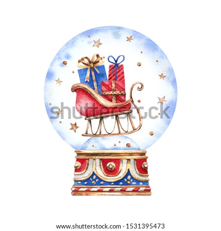 Watercolor illustration of a snow globe with a Christmas sleigh full of presents. New Year's illustration with sleigh full of presents for cards, decor, gifts, souvenirs and more.