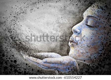 Stock Photo Watercolor illustration of a woman blowing dust.