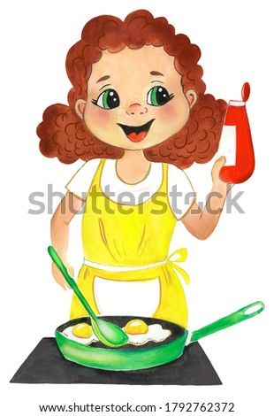 Watercolor illustration of a woman cooking eggs. Kitchen, cooking, chef, housewife