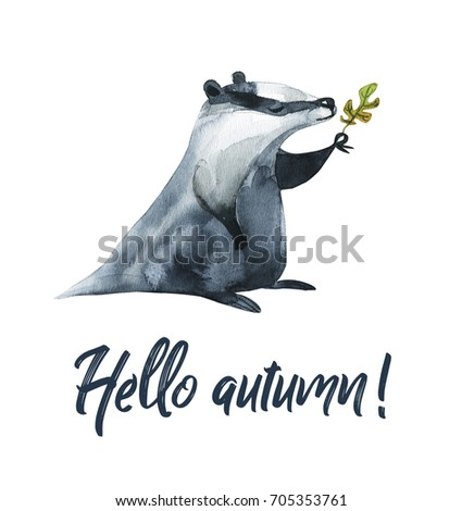Watercolor illustration of an animal. Hello, autumn. Borsuk with an oak leaf. Forest Fauna.
