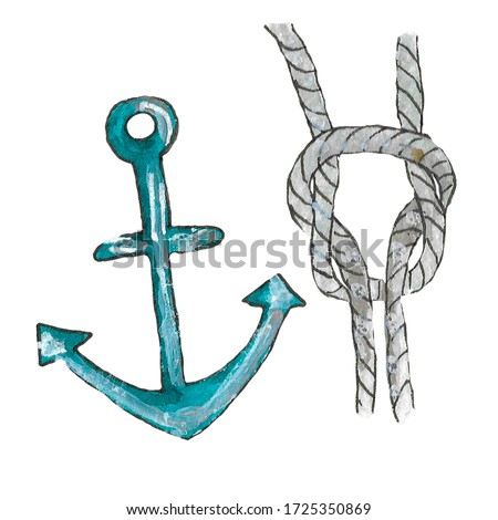 Watercolor illustration of an iron anchor and a gray rope on a white background