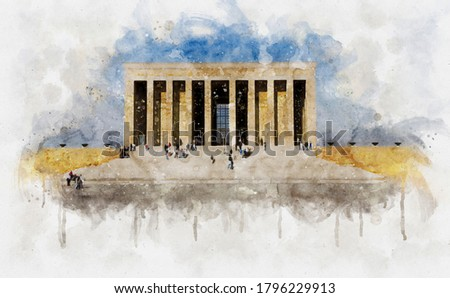 Watercolor illustration of Anitkabir Mausoleum of Mustafa Kemal Ataturk behind